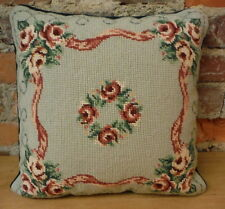 Vintage Pillow Needlepoint Roses VelvetBack Zippered Removable Cover