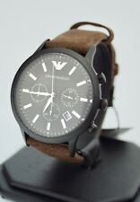 Emporio Armani Men's Chronograph Brown Suede Leather Watch AR11078, New