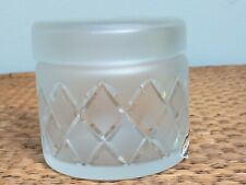 Vtg DeVilbiss Frosted Cut to Clear Glass Powder Trinket Box