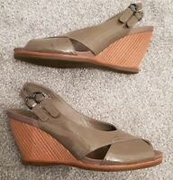 Womens Clarks Ballot Brown Patent Sandals Wedge Size UK 5