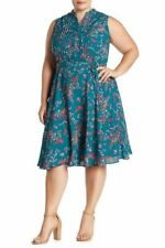 Nanette Lepore Women's 18W Plus Size Sleeveless Pintuck Dress Tie Waist Teal