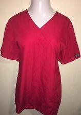 Cherokee • Women's Plus 2Xl Red Wrap Style Scrub Top Ties In Back