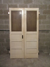 ~ Antique Double Entrance French Doors Glass ~ 47.75 x 83 ~ Salvage