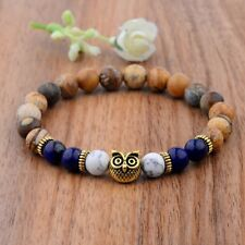 Mans Spot 8MM Natural Color Unakite Stone Gold Owl  Beaded Charm Bracelets