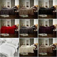 Teddy Bear Fleece Duvet Quilt Sets Cover Pillow Case Warm Soft Cozy Bedding Sets