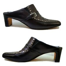 BRIGHTON TIANA STUDDED TWO TONE LEATHER TEMPE MULES SLIP-ON SHOES, SIZE 8 M