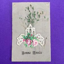 CPA Rhodoïd Ajouti Chromo Bonne Année Carte Ancienne Antique Post Card