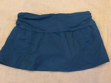 Lands End Swimsuit Skirt Bottom 8 Womens Turquoise Ruched Waistband