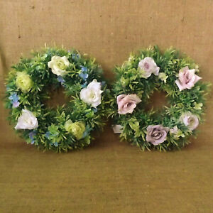 Lavender or Blue Artificial Rose Wedding Wreath Floral Centrepiece Candle Anneau