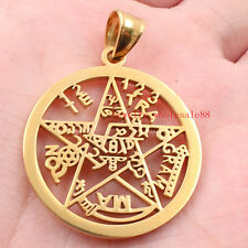 Mens Gold Stainless steel Religious pentagram Charms Pendant Cool Gifts Jewelry