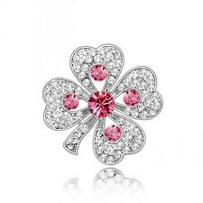 PRETTY WHITE GOLD PLATED AND PINK GENUINE CZ & AUSTRIAN CRYSTAL SHAMROCK BROOCH.