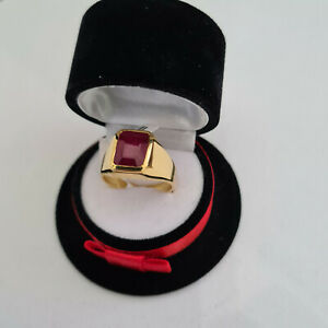 5.5ct Ruby ring in 14k gold over Sterling silver 'R'