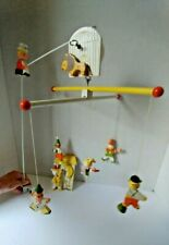 Vintage  IRMI Nursery Hand Painted Wooden CIRCUS Baby Crib Mobile + Switchplate