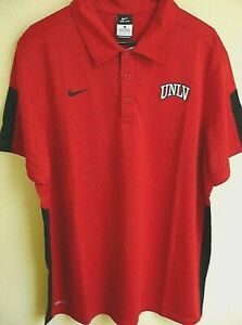 NCAA Nike DRI-FIT UNLV Runnin' Rebels Football Polo Shirt L NWT 442605