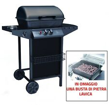 BARBECUE BBQ GAS STONE LAVA ROCK WITH STOVE DOUBLE GRID AND BURNER