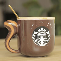 Starbucks Ceramic Mugs Coffee Cups Mermaid Bronze Medal Cat With Ear Cup Lid