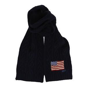 Polo Ralph Lauren Wool Scarf w/ USA Flag - Navy w/ Flag -