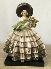 """Guido Cacciapuoti Porcelain 1920's LADY WITH FLOWERS ITALY LARGE 12"""""""