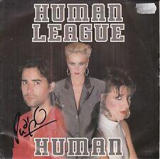 "PHIL OAKEY HAND SIGNED HUMAN LEAGUE 7"" VINYL HUMAN."