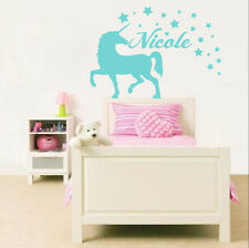 Unicorn Wall Decal Vinyl Name Sticker Custom Nursery Home Kids Art Decor MS50