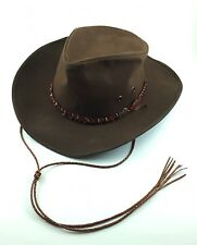 Outback Trading Co GRIZZLY Hat Brown 1486 Sz Large Made in USA Braided LEATHER