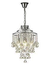Traditional Crystal Chandelier Hanging Pendant Modern 4 Light Polished Chrome