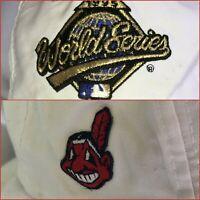 1995 Cleveland Indians Chief Wahoo World Series Cap Snapback White Black Logo 7