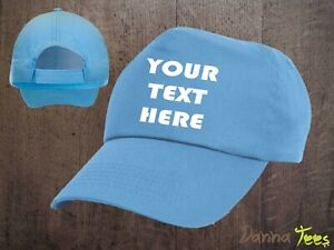 PRINTED BASEBALL CAPS - Personalised with ANY TEXT or LOGO - Adult size