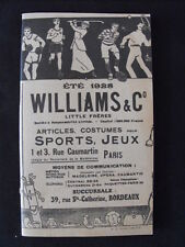 Williams & Co Little Frères Catalogue été 1928  Tennis Golf Vêtements Souliers