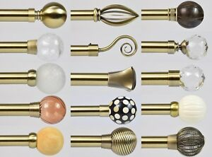 28mm Burnished Brass BAY WINDOW Curtain Poles. 3m or 5m 3-sided bays 15 Finials