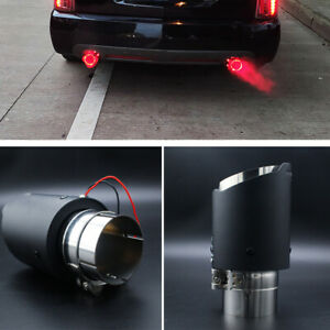 63mm Inlet Auto Car Muffler Matte Carbon Fiber Style Exhaust Tip Red LED Light