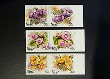 Niue MNH Imperf Pairs Flowers Princess Lotus Hibiscus 6 different stamps !