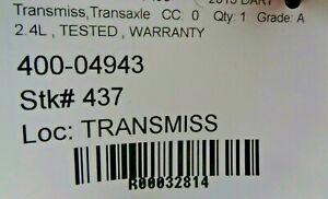 2013-2016 DART Automatic Transmission ID 68197729 (2015) Tested Warranty 74k OEM