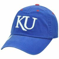 NCAA KU Kansas Jayhawks Garment Washed Slouched Blue Curved Bill Hat Cap