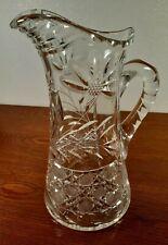 "Gorgeous American Brilliant Cut Glass Pitcher Full Size 11"" Floral & Button Cut"