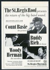 1972 Count Basie Buddy Rich Woody Herman photo St Regis Hotel vintage print ad