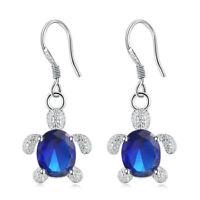 Fashion Women Jewelry Silver Tortoise Emerald Earring Pendant Crystal Earrings B