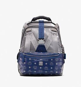 MCM Silver Jemison 2-in-1 Backpack Blue Belt Bag in Logo Nylon MUK9AJV32TV