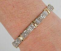 Men's Women's Statement Bracelet 14k Yellow Gold Finsh Round 7Ct Diamond 7.5Inch