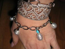 14KT White Gold Gemstones & Paspaley South Sea Pearl Charms Bracelet NEW