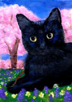 BCB Black Cat Flowers Cherry Trees Original Painting ACEO  2.5 x 3.5 Inches