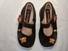 Genuine Kids Suede Mary Jane Shoes Size 5.5 Brown Flowers Hook and Loop Closure
