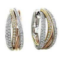 Two Tone Gold 925 Silver White Topaz Gems Earrings Hoop Dangle Ear Studs Wedding