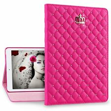 For iPad mini Air 2/3/4 9.7'Metal Nail Bling Crown Leather Flip Stand Case Cover