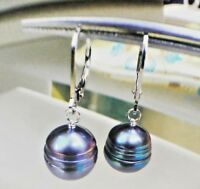 Honora 10 - 11mm Freshwater Black Pearl Dangle Earrings Sterling Silver