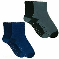 4 Pairs Mens Boys Cosy Socks Slipper Bed Super Soft Fluffy Warm Thermal Non Skid