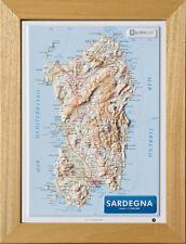 Sardegna Carta in Rilievo [21x30 cm] [con cornice] [cartina/mappa/poster] Global