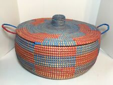 """Round Wrapped Wicker Lidded Basket Pull Top Handles 15"""" Crafts Storage"""