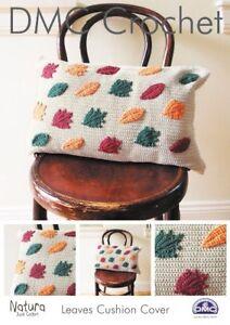DMC Crochet Pattern Autumn Leaves Cushion Cover Natura Just Cotton