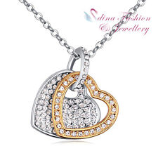 18K White & Gold Plated AAA Grade CZ Shiny Eternal Double Heart Necklace